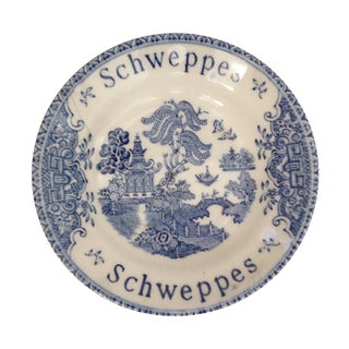 Vintage Schweppes Blue Willow Tip Dish For Sale