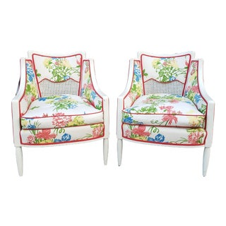 Vintage Hollywood Regency Style Barrel Back Painted Caned and Upholstered Armchairs - A Pair For Sale