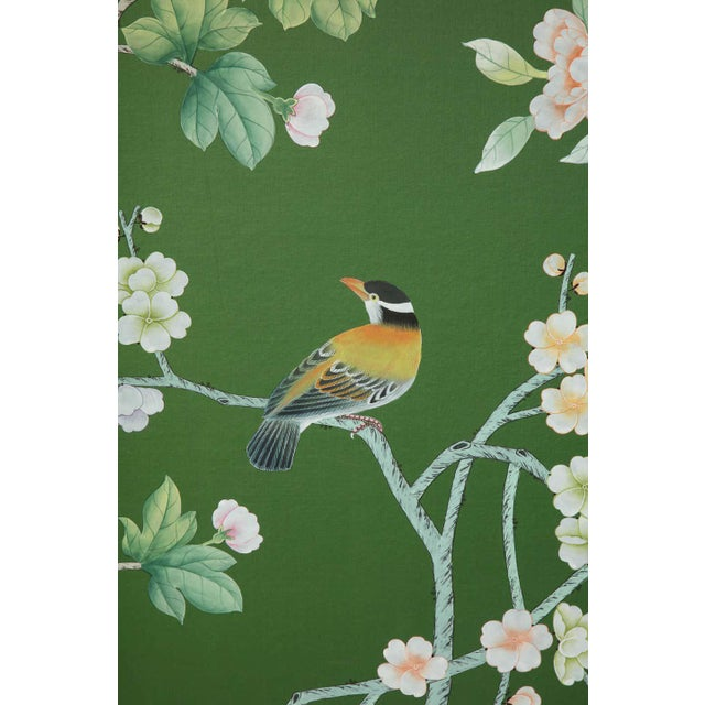 Chinoiserie six-panel hand-decorated screen. The screen features a wonderful floral motif with birds and foliage.