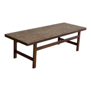 Mid Century Lane Mosaic Top and Walnut Coffee Table For Sale