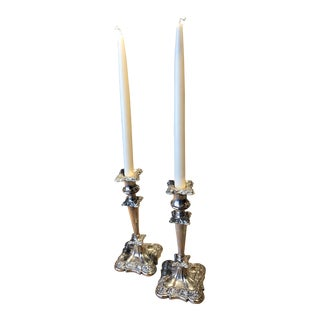 Vintage Sheffield Style Silver Plated Candlesticks - a Pair For Sale