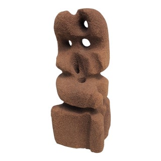 Abstract Modern Carved Signed Sandstone Sculpture For Sale