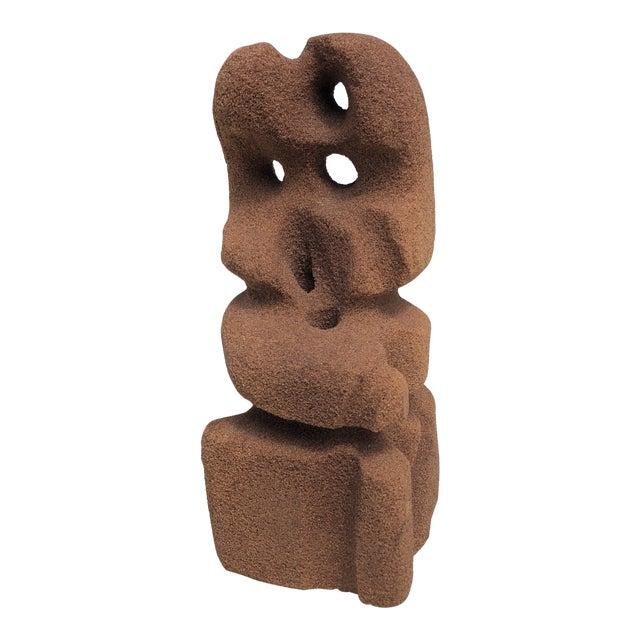 Abstract Modern Carved Signed Sandstone Sculpture For Sale