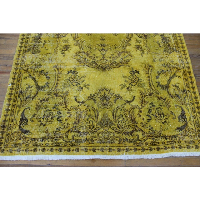 """Boho Chic Vintage Hand Woven Yellow OverDyed Rug - 5'7"""" x 9' For Sale - Image 3 of 7"""