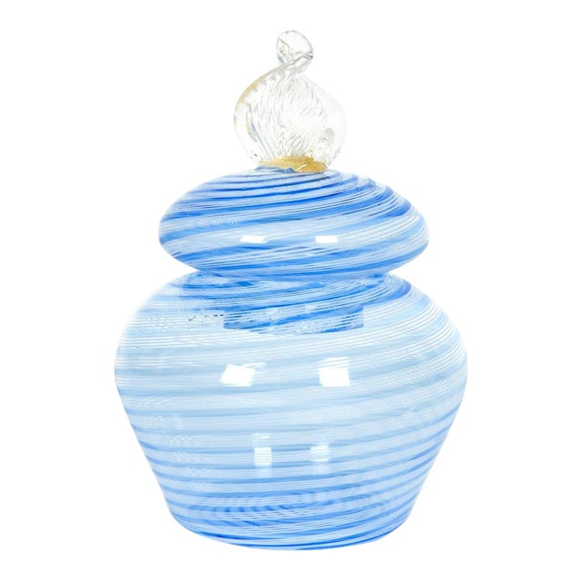 Murano Glass Covered Vanity Jar For Sale