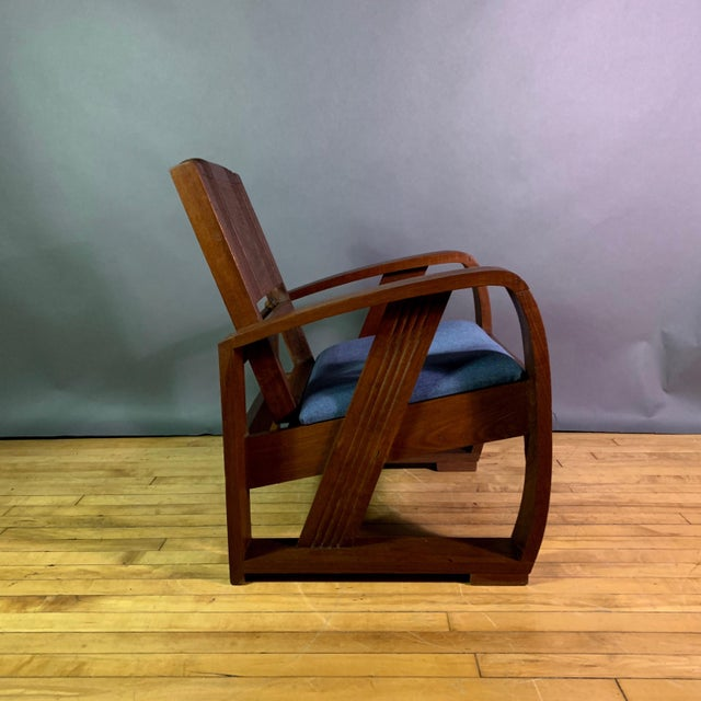 Art Deco 1930s Solid Teak Veranda Chair, Danish Colonial Indonesia For Sale - Image 3 of 11