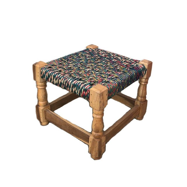 Mid Century Modern Colorful Woven Stool For Sale - Image 4 of 4