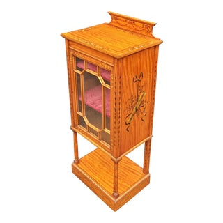 English 19th Century Adams Style Satinwood Curio Cabinet Vitrine For Sale