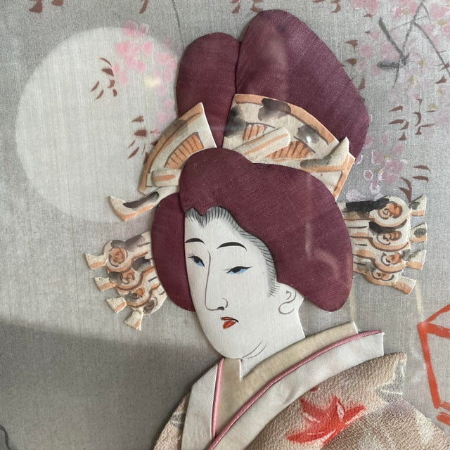 Traditional Japanese Silk & Brocade Art, Framed For Sale - Image 4 of 13