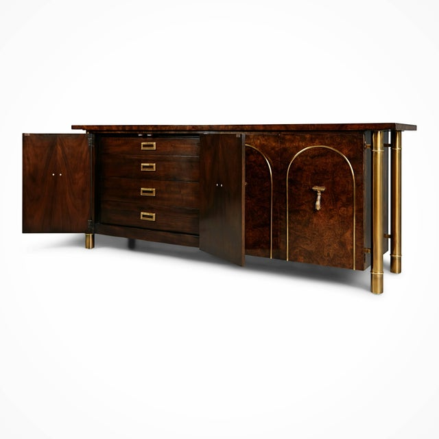 Art Deco 1960s William Doezema for Mastercraft Burled Wood and Brass Credenza For Sale - Image 3 of 11