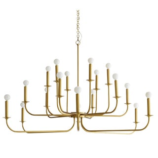 Mid-Century Modern Arteriors Large Brass Breck Parzinger Style Chandelier For Sale