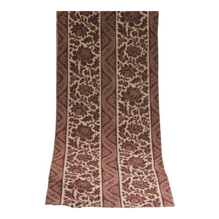 Antique 19th Century French Madder Brown Floral Printed Cotton Fabric C. 1860 For Sale