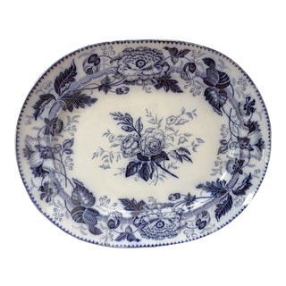 Extra Large Antique Blue & White Platter For Sale