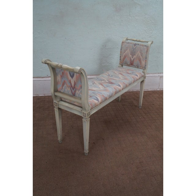 Country Vintage French Louis XVI High Arm Window Bench For Sale - Image 3 of 10