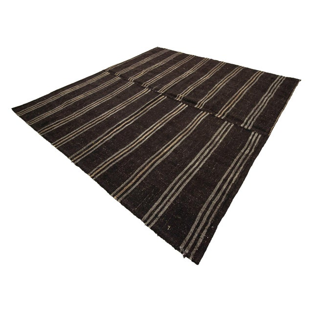 1960s Vintage Dark Brown Striped Kilim Rug- 9′ × 9′3″ For Sale - Image 4 of 7