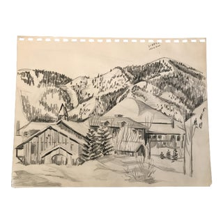 1950s Mid-Century Ski Lodge Landscape Drawing For Sale