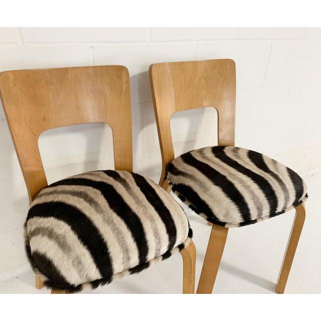 Alvar Aalto Model 66 Chairs in Zebra Hide, Pair For Sale In Saint Louis - Image 6 of 9