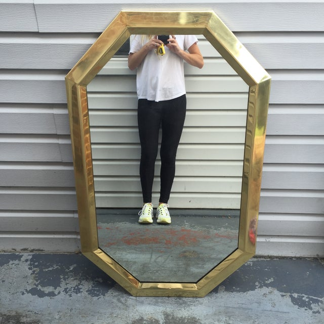 Mid Century Modernist Mastercraft Solid Brass Octagonal Mirror For Sale - Image 5 of 9