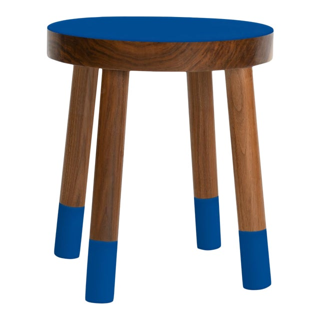 Poco Kids Chair in Walnut With Pacific Blue Finish For Sale