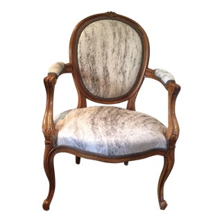 "French Hide Upholstered ""Hers"" Bergere Chair For Sale"