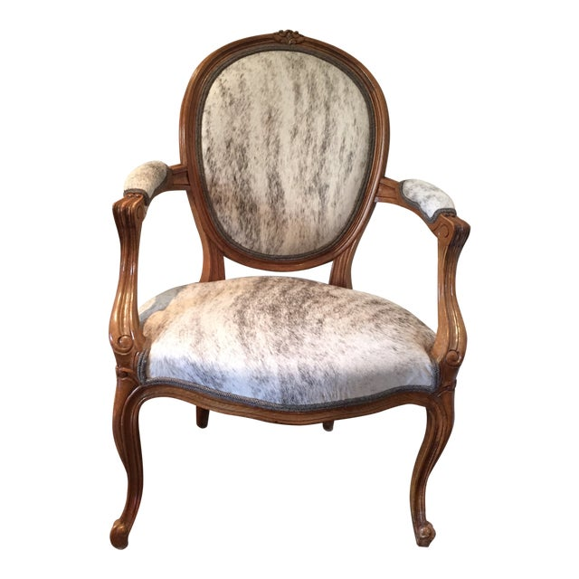 """French Hide Upholstered """"Hers"""" Bergere Chair For Sale"""