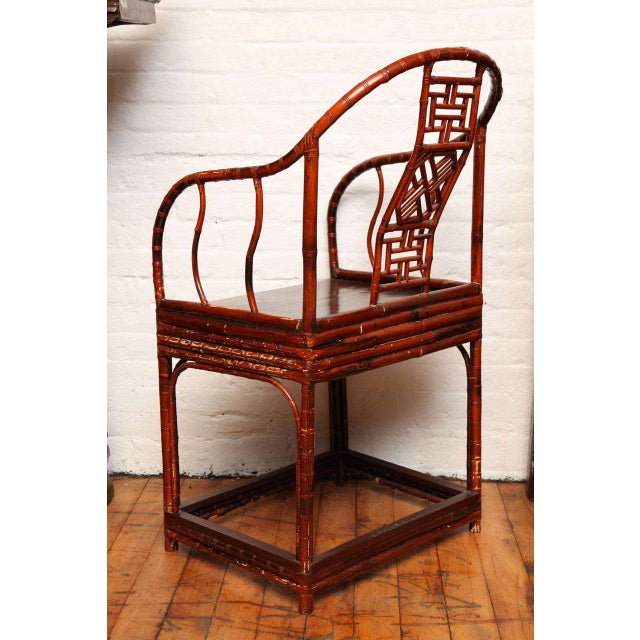 Brown Single 19th Century Chinese Horseshoe-Back Bamboo Armchair with Elm Base For Sale - Image 8 of 12