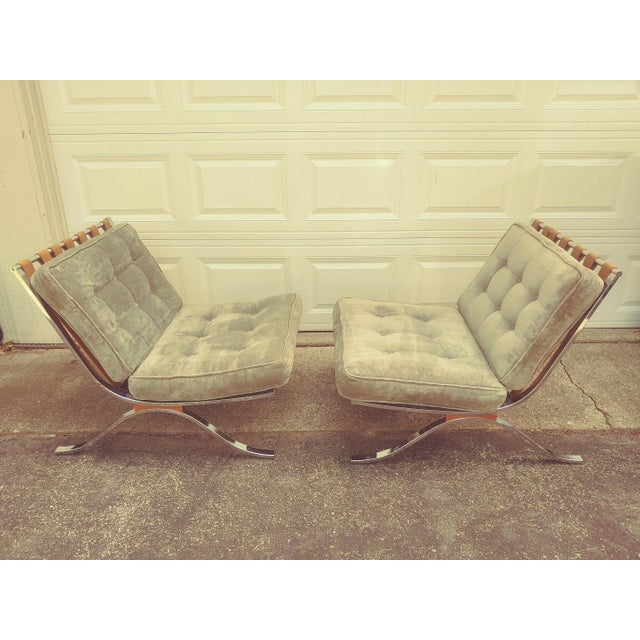 Vintage Barcelona Chrome chairs from Italy..They have strips of naugahyde that holds the cushions for support. . Each...