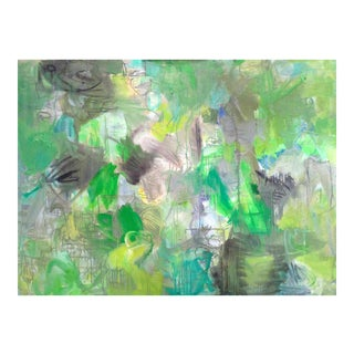 """Large Abstract Oil Painting by Trixie Pitts """"Nashville Green"""""""
