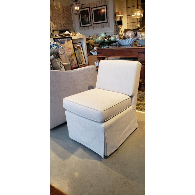 2010s Slipper Chair in Baldwin Linen For Sale - Image 5 of 5