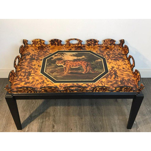 Wood Regency Style Tortoiseshell & Jaguar Motif Coffee Table by William Skilling For Sale - Image 7 of 11