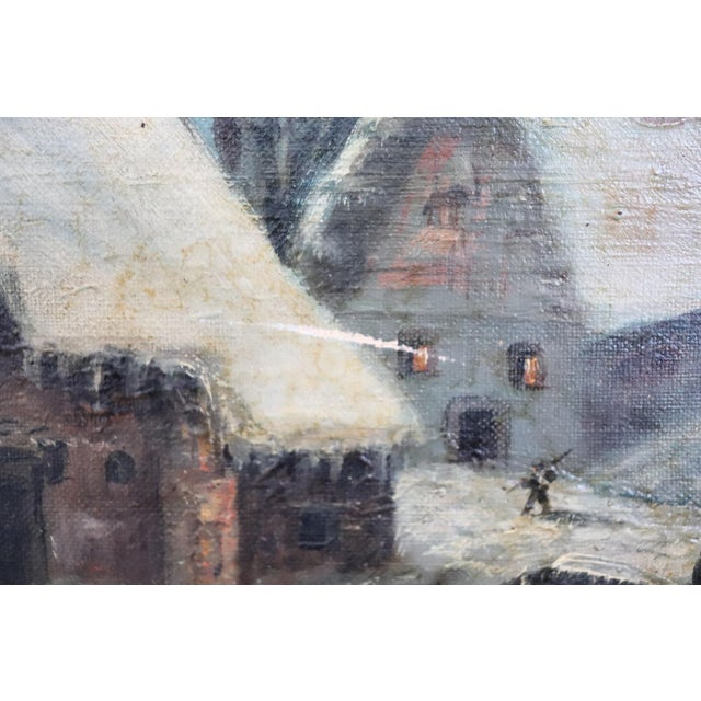 1920s 20th Century Italian Oil Painting on Canvas Winter Landscape For Sale - Image 5 of 10