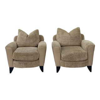 Swaim Upholstered Club Chairs- a Pair For Sale
