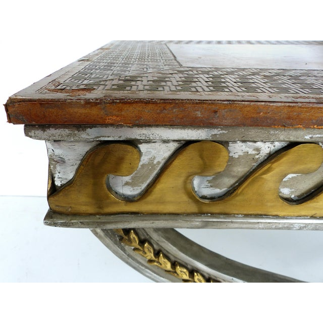 Stainless, Brass & Leather Coffee Table - Image 6 of 11