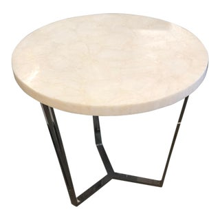 Contemporary Century Furniture Faux Marble and Steel Round Accent Table For Sale