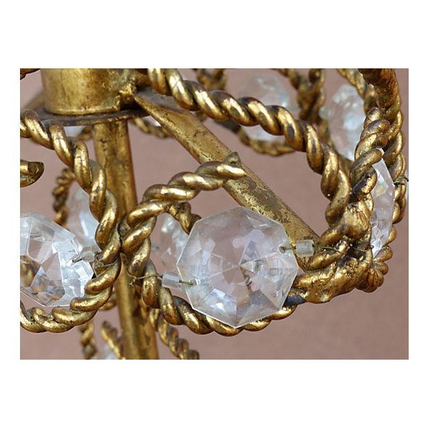 Gold Vintage Gilt Rope-Twist & Crystal Lamps - A Pair For Sale - Image 8 of 9