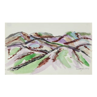 Mountain Landscape in Green & Purple, Watercolor Painting, 1977 For Sale
