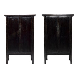 Pair of 19th Century Chinese Black Lacquer Noodle Cabinets For Sale