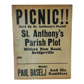 1930 Vintage St. Anthony's Parish Picnic Sign For Sale