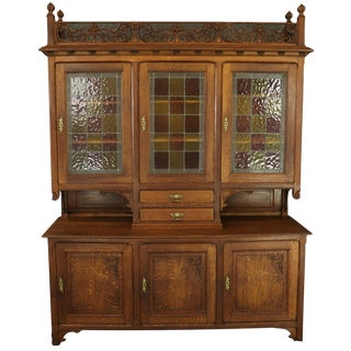 Buffet Arts and Crafts Vintage French 1920 Oak For Sale