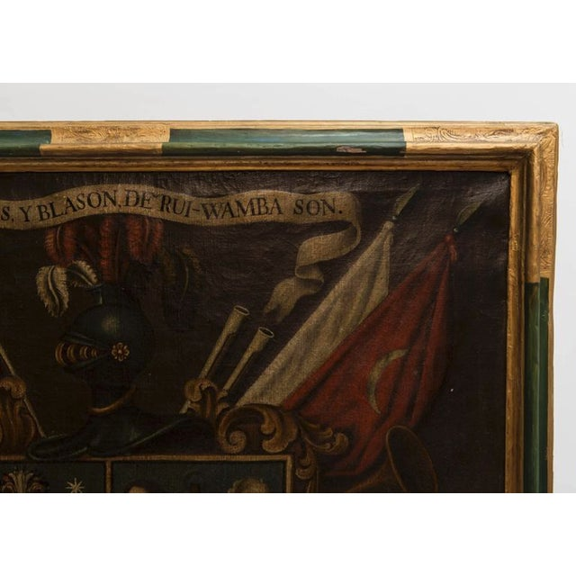 19th Century Antique Coat of Arms Framed Oil Painting For Sale - Image 10 of 11