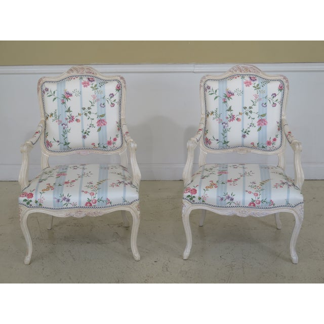 French Inspired Scalamandre Upholstered Armchairs - A Pair For Sale - Image 13 of 13