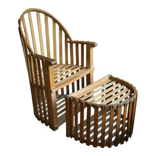 Slatted Wood Chair and Ottoman For Sale
