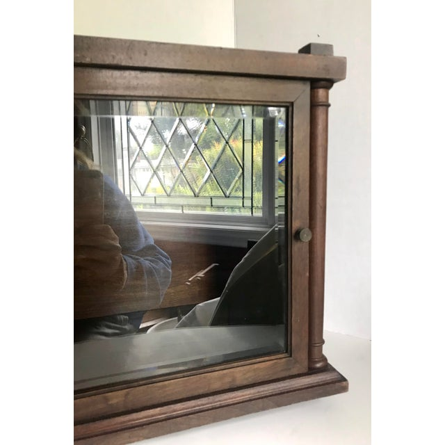 Brown Antique Wood and Glass Display Cabinet For Sale - Image 8 of 10