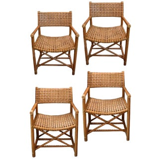 Set of Four Vintage McGuire Rattan and Leather Chairs