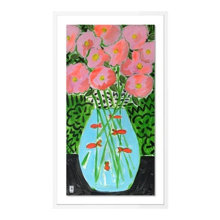 Flower Fish Bowl by Jelly Chen in White Framed Paper, Small Art Print For Sale