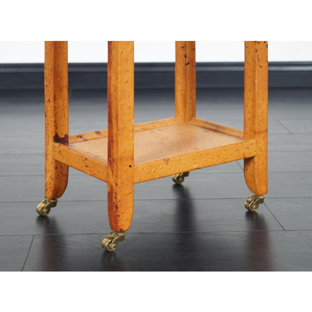 1980s Vintage Ostrich Leather Table by Karl Springer For Sale - Image 5 of 9