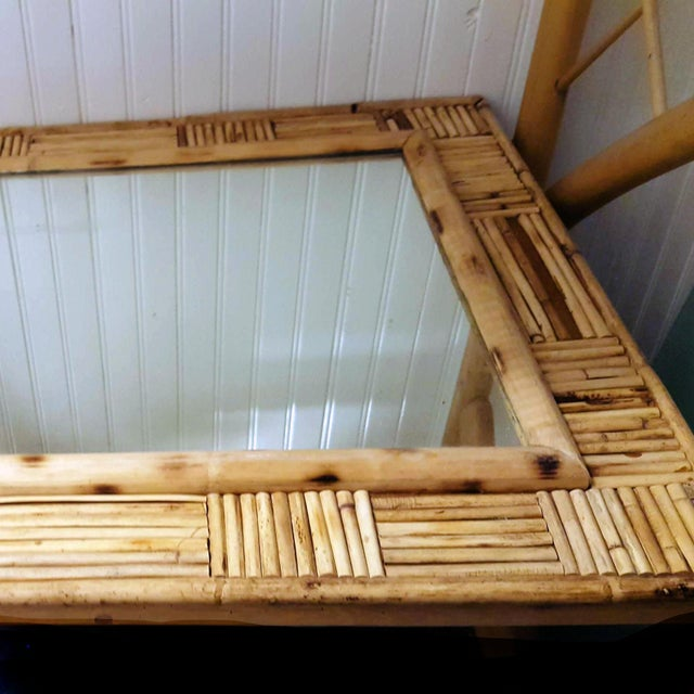 1950s Vintage Pencil Reed Rattan Mosaic Patchwork Patterned Framed Wall Mirror For Sale - Image 5 of 7
