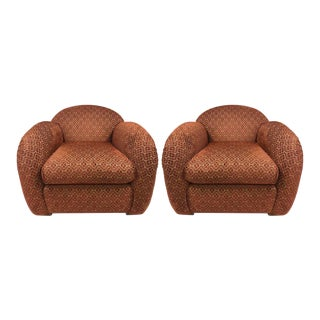 Pair of Art Deco Club Chairs with Ottoman For Sale