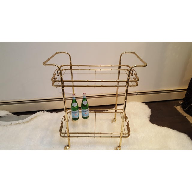 Brass Plated Mid Century Bamboo Bar Cart - Image 5 of 11