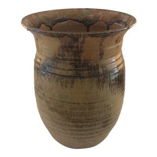 Large California Brown & Black Glazed Pottery Vase